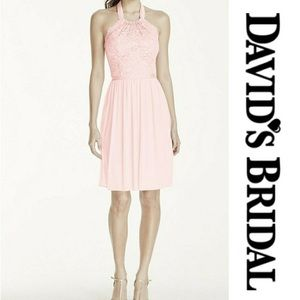 NWT David's Bridal short halter lace mesh dress